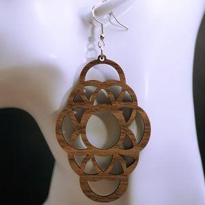 Walnut wood laser cut drop earrings style 19